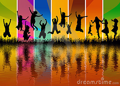 Happy young people jumping - water reflection