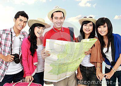 Happy young people tourists