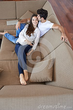 Free Happy Young Romantic Couple Have Fun And  Relax At Home Indoors Royalty Free Stock Images - 57524209