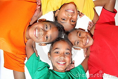 Happy young school friends boys and girls together