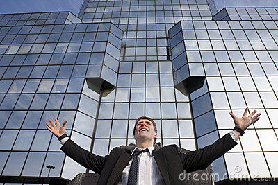 Happy young scuccessful  businessman