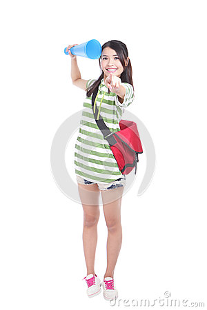 Happy young student woman pointing at you