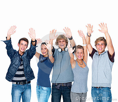 Happy young students laughing and waving