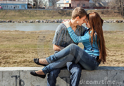 Happy young teenage couple outdoor