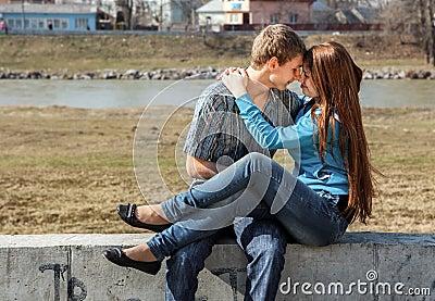 Happy young teenage couple outdoor