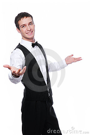 Happy young waiter
