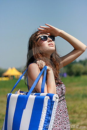 Happy Young Woman With Beach Bag Royalty Free Stock Images - Image: 18876079