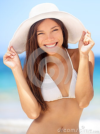 Happy young woman beach portrait