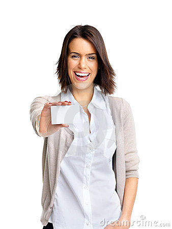 Happy young woman with bussiness card