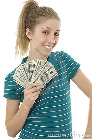 Happy Young Woman with Fan of Hundred Dollar Bills