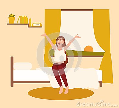 Happy young woman or girl waking up with rising sun in early morning. Smiling female cartoon character awakening at Vector Illustration