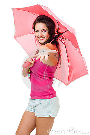 Free Happy Young Woman Give A Hand With Color Pink Umbr Royalty Free Stock Image - 10720116
