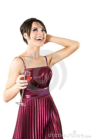 Happy young woman with glass