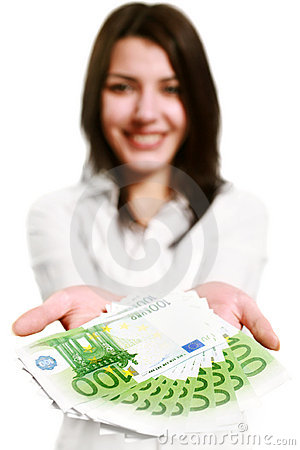 Free Happy Young Woman Holding Money Stock Photography - 7809602
