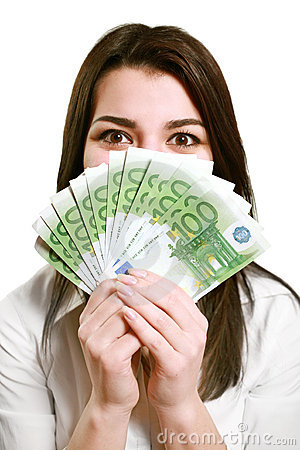 Free Happy Young Woman Holding Money Royalty Free Stock Image - 7809806