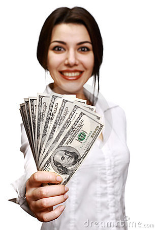 Free Happy Young Woman Holding Money Stock Photos - 7946573