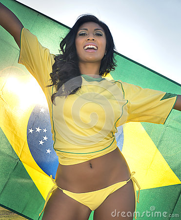 Free Happy Young Woman In Brazil Football Top Stock Images - 32949454