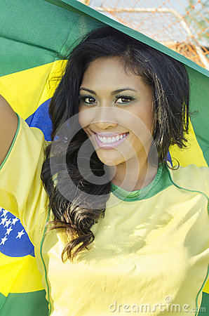 Free Happy Young Woman In Brazil Football Top Royalty Free Stock Photos - 32949628