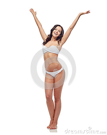 Free Happy Young Woman In White Bikini Swimsuit Dancing Royalty Free Stock Photos - 54036228