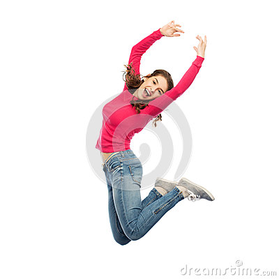 Free Happy Young Woman Jumping In Air Or Dancing Stock Photo - 84920640