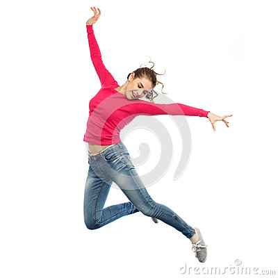 Free Happy Young Woman Jumping In Air Or Dancing Stock Photos - 85702933