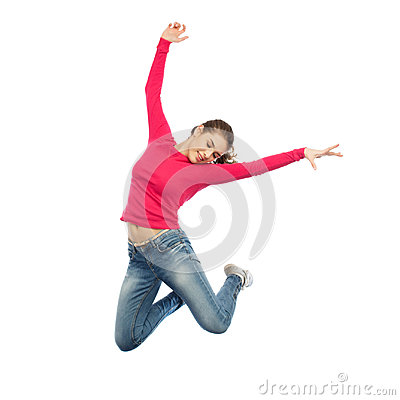 Free Happy Young Woman Jumping In Air Or Dancing Royalty Free Stock Photos - 96764878