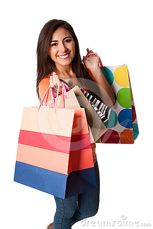 Free Happy Young Woman On Shopping Spree Royalty Free Stock Images - 24511849