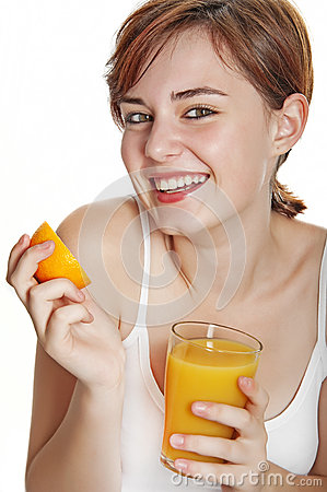 Happy young woman with orange juice