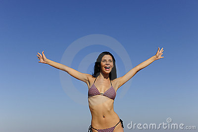 Happy young woman outdoors