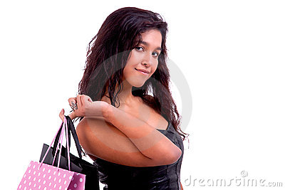 Happy young woman with shopping bags