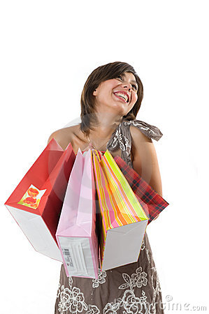 Happy young woman on a shopping paper-bag.