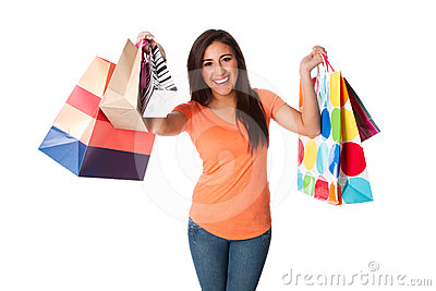 Happy young woman on shopping spree