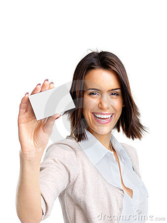 Happy young woman showing her bussiness card