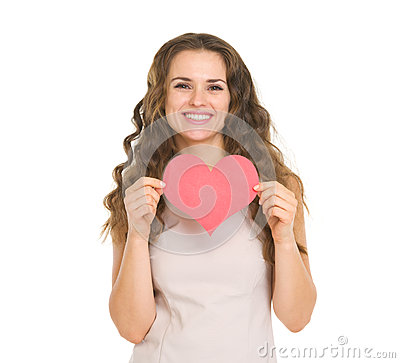 Happy young woman showing valentines day cards