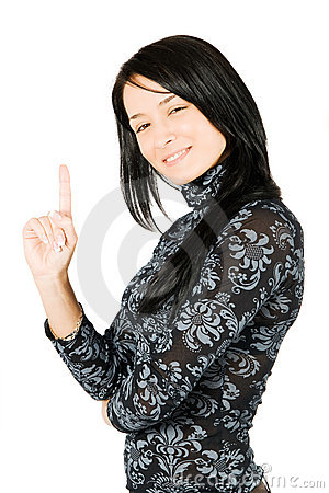 Happy young woman smiling have an great idea