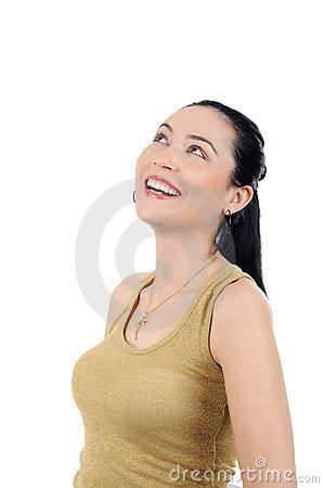 Happy young woman smiling on white background