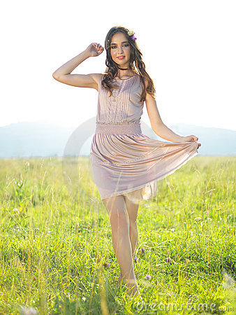 Free Happy, Young Woman Standing In Green Field Royalty Free Stock Photo - 21970725