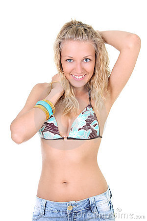 Happy young woman in summer clothes