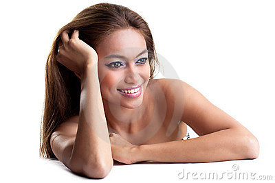 Happy young woman with tanned skin