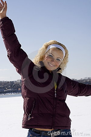 Happy young woman in winter