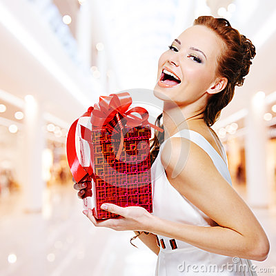 Free Happy Young Woman With Birthday Present In Hands Royalty Free Stock Photo - 33318935