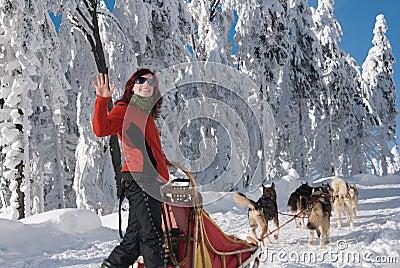 Happy young women-musher Editorial Photo