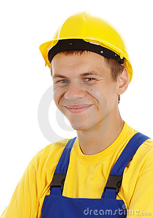 Happy young worker wearing hard hat