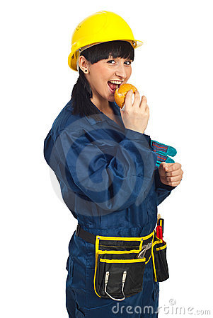 Happy young worker woman with sandwich