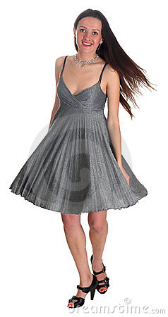 Happy Younge Brunette Girl Spinning Dress Isolated