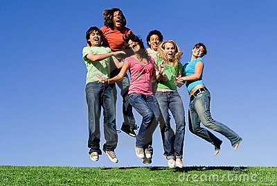 Happy youth group jumping