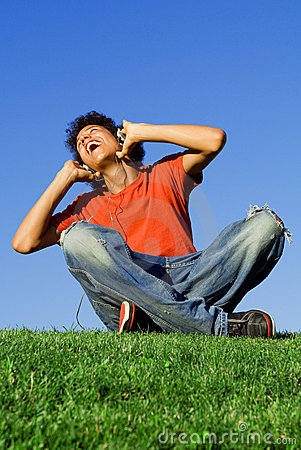 Happy youth listening music