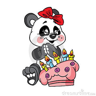 Happy panda birthday with cake
