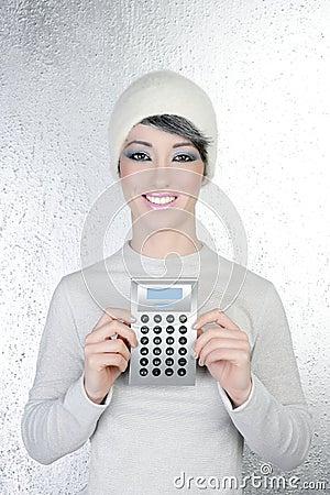 Hapy futuristic fashion winter woman calculator