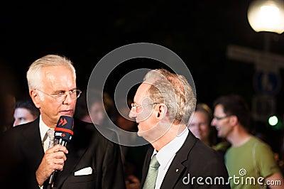 Harald Schmidt interviews Wolfgang Schuster Editorial Image